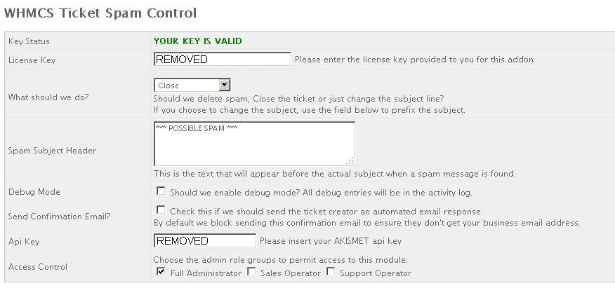 WHMCS Ticket Spam Control Addon - Commercial Modules and Addons