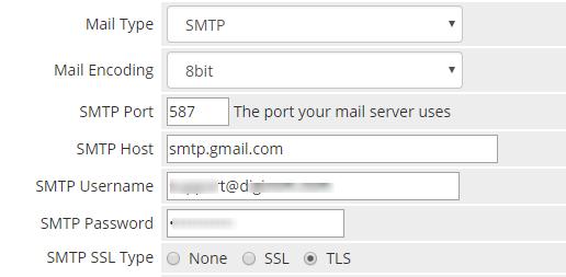 problem with gmail smtp server