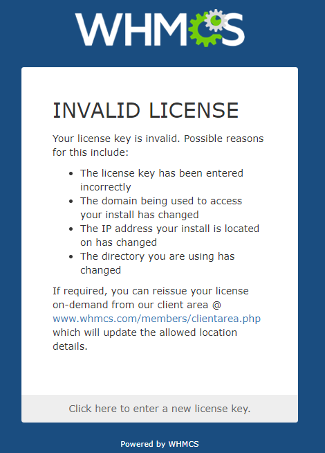 Reissuing Your WHMCS License Key